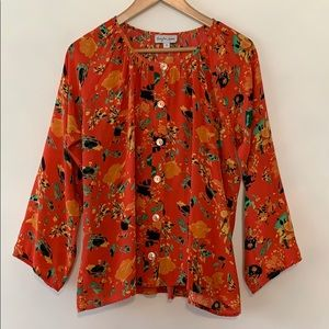 Anthropologie Bayla Jane Silk Blouse Abstract